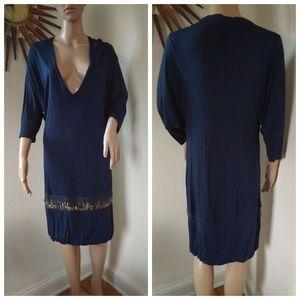 Young Fabulous Broke Deep V Sequin Tunic Dress
